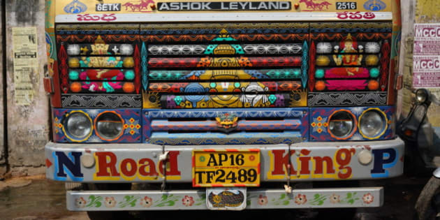 The front of a truck in Varanasi, India on October 01, 2015.