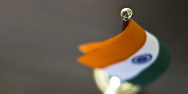 Table flag of India kept on table