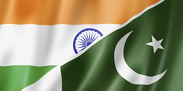 Mixed India and Pakistan flag, three dimensional render, illustration