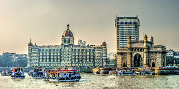 HDR image of Gateway of India and Tajmahal Hotel, Mumbai, India
