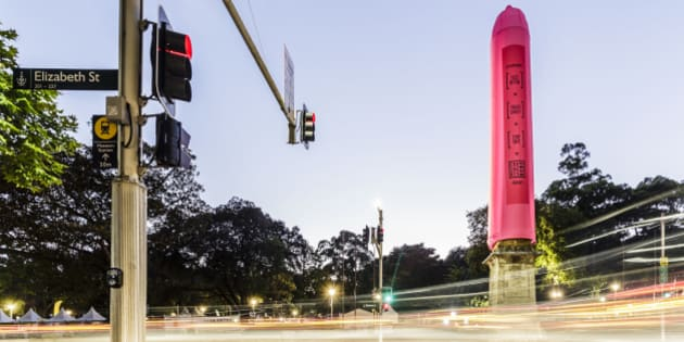 SYDNEY, AUSTRALIA - FEBRUARY 27: An 18 meter pink condom was slipped onto the Hyde Park Obelisk on February 27, 2016 in Sydney, Australia.  The installation is intended to promote safe sex in the lead up to the Sydney Gay and Lesbian Mardi Gras on Saturday 5 March.  (Photo by Brook Mitchell/Getty Images)