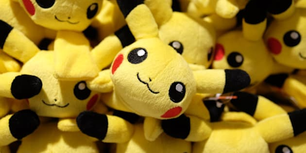 Pikachu plush toys are displayed for sale at the Pokemon Center Mega Tokyo store in Tokyo, Japan, on Wednesday, Feb. 24, 2016. Pokemon, a multi-media franchise by Nintendo Co., will mark its 20th anniversary on Feb. 27. Photographer: Yuriko Nakao/Bloomberg via Getty Images