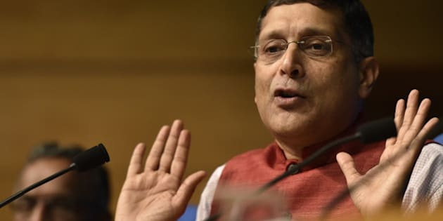 NEW DELHI, INDIA - FEBRUARY 26: Chief Economic Adviser, Ministry of Finance Arvind Subramanian, addressing the Press Conference on Economic Survey 2015- 16 at Conference Hall, National Media Centre on February 26, 2016 in New Delhi, India. The Economic Survey 2015-16, tabled in Parliament said the government should refrain from raising exemption limits on income tax to facilitate natural growth of individual earnings and widen the taxpayers base, even as it also suggested increasing property tax.  (Photo by Virendra Singh Gosain/Hindustan Times via Getty Images)