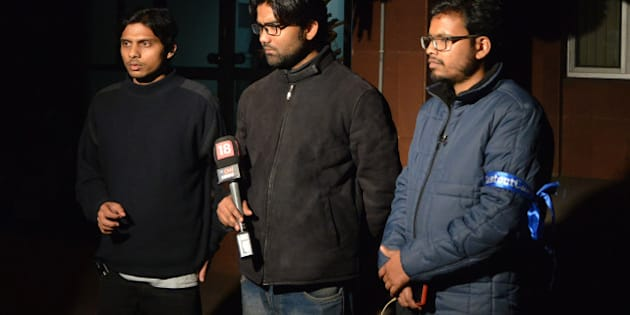 DELHI, INDIA FEBRUARY  24: Students Leaders Rama Naga, Anant Prakash Narayan and Ashutosh Kumar,at JNU in New Delhi.(Photo by Qamar Sibtain/India Today Group/Getty Images)