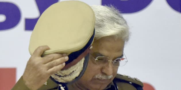 NEW DELHI, INDIA - FEBRUARY 26: Bhim Sain Bassi Commissioner of Police, Delhi, during the launch of various smart and technological applications for policing, on February 26, 2016 in New Delhi, India. (Photo by Sonu Mehta/Hindustan Times via Getty Images)
