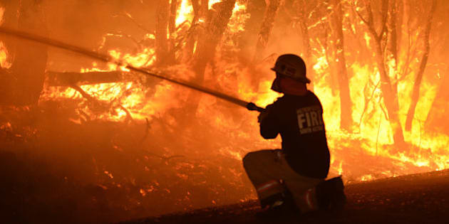 ADELAIDE HILLS - JANUARY 2, 2015:  (EUROPE AND AUSTRALASIA OUT) MFS fire crews fight a bushfire on Wattle Road in Kersbrook, on January 2, 2015 in Adelaide Hills, Australia. (Photo by Campbell Brodie/Newspix/Getty Images)