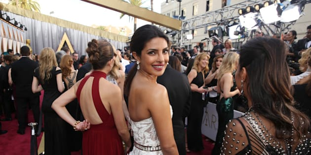 Priyanka Chopra arrives at the Oscars on Sunday, Feb. 28, 2016, at the Dolby Theatre in Los Angeles. (Photo by Matt Sayles/Invision/AP)