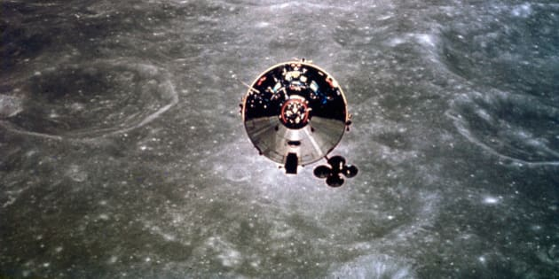 UNITED STATES - MAY 30:  The Apollo 10 Command and Service Module is shown in orbit over the far side of the moon. Apollo 10, carrying astronauts Thomas Stafford, John Young and Eugene Cernan, was launched in May 1969 on a lunar orbital mission as the dress rehearsal for the actual Apollo 11 landing which took place two months later.  (Photo by SSPL/Getty Images)