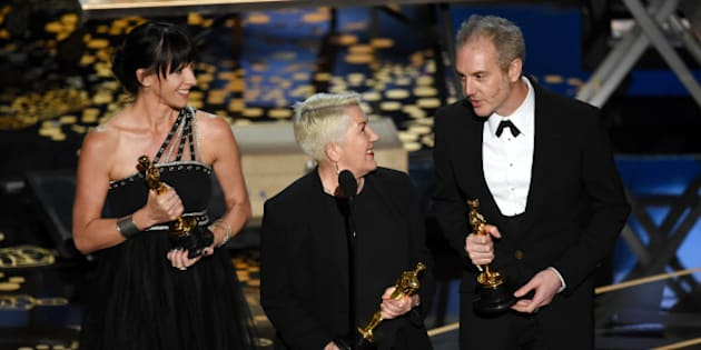 HOLLYWOOD, CA - FEBRUARY 28:  (L-R) Elka Wardega, Lesley Vanderwalt and Damian Martin accept the Best Makeup and Hairstyling award for 'Mad Max: Fury Road' onstage during the 88th Annual Academy Awards at the Dolby Theatre on February 28, 2016 in Hollywood, California.  (Photo by Kevin Winter/Getty Images)