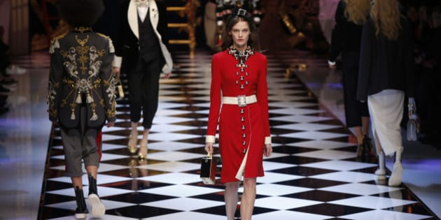 A model wears a creation part of the Dolce&Gabbana women''s Fall-Winter 2016-2017 collection, that was presented in Milan, Italy, Sunday, Feb. 28, 2016. (AP Photo/Luca Bruno)