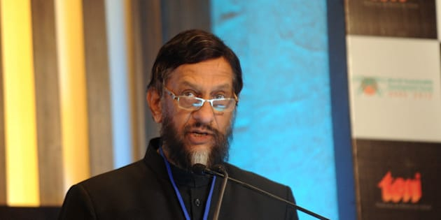 Director General of The Energy and Resources Institute (TERI) R. K. Pachauri delivers his speech during the Delhi Sustainable Development Summit in New Delhi on February 2, 2012. The 12th edition of the  Delhi Sustainable Development Summit focusing on the theme, 'Protecting the Global Commons: 20 Years Post Rio', was inaugurated by Indian Prime Minister Manmohan Singh. AFP PHOTO / Prakash SINGH (Photo credit should read PRAKASH SINGH/AFP/Getty Images)