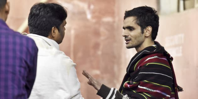 NEW DELHI, INDIA - FEBRUARY 23: JNU student Umar Khalid at JNU Campus on the night of February 23, 2016 in New Delhi, India. Five JNU students Umar Khalid, Anant Prakash Narayan, Ashutosh Kumar, Rama Naga and Anirban Bhattacharya, accused of sedition, reappeared on the campus on Sunday, having spent 10 days in hiding. The five students are accused of allegedly planning an event on February 9 against the hanging of Parliament attack convict Afzal Guru, where anti-national slogans were allegedly shouted. (Photo by Sanjeev Verma/ Hindustan Times via Getty Images)