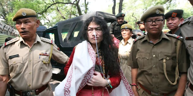 NEW DELHI, INDIA - MAY 28: Human rights activist Irom Sharmila arrives at Patiala court for hearing a case of attempted suicide during her fast-unto-death at Jantar Mantar here in 2006 on May 28, 2014 in New Delhi, India. Dubbed the Iron Lady, 40-year-old Sharmila from Manipur has been protesting for the last 12 years, demanding repeal of AFSPA. (Photo by Arun Sharma/Hindustan Times via Getty Images)