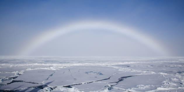 North Pole, Arctic Ocean, fog bow on blue sky