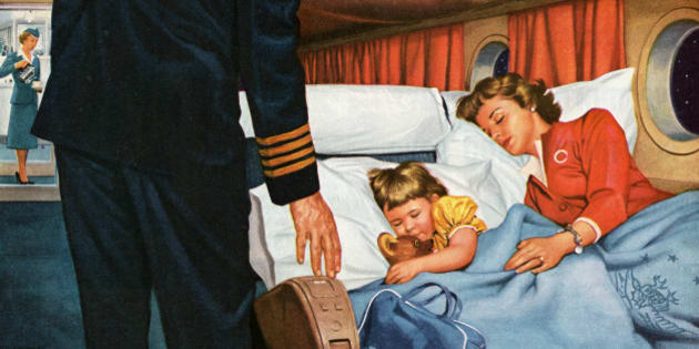 Vintage illustration of a mother and daughter asleep in their reclining seats on an overnight flight, while the captain makes sure they are comfortable (screen print), 1956. (Photo by GraphicaArtis/Getty Images)
