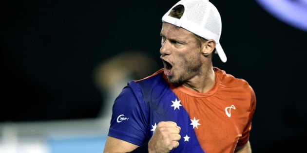 Lleyton Hewitt of Australia gestures during his second round match against David Ferrer of Spain at the Australian Open tennis championships in Melbourne, Australia, Thursday, Jan. 21, 2016.(AP Photo/Andrew Brownbill)