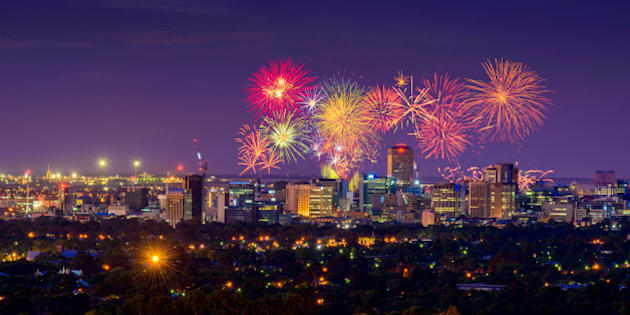 New Years Eve fireworks display in Adelaide, South Australia