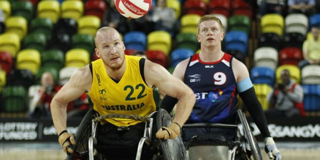 LONDON, ENGLAND - OCTOBER 13: Matt Lewis of Australia  and Jim Roberts of Great Britain  during the 2015 BT World Wheelchair Rugby Challenge match between Great Britain and Australia at The Copper Box on October 13, 2015 in London, United Kingdom. (Photo by Mitchell Gunn/Getty Images)