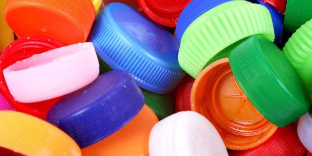 Color plastic caps background, detail