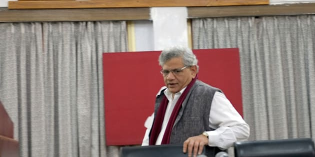 KOLKATA, INDIA - DECEMBER 26: CPI (M) Party General Secretary Sitaram Yechury arrives for a press conference on December 26, 2015 in Kolkata, India. Months before the crucial assembly polls in its erstwhile citadels West Bengal and Kerala, the CPI-M begins a five-day plenum here to streamline and strengthen the party organisation. (Photo by Subhendu Ghosh/Hindustan Times via Getty Images)
