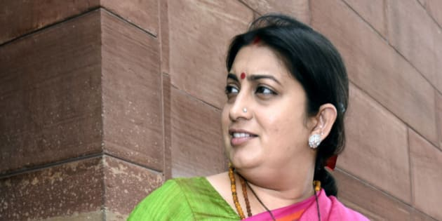 NEW DELHI, INDIA - MARCH 2: Minister of Human Resource Development Smriti Zubin Irani leaves Parliament after attending the Parliament Budget Session on March 2, 2016 in New Delhi, India. Speaking in Lok Sabha, Congress Vice-President Rahul Gandhi slammed the government over the Jawaharlal Nehru University (JNU) controversy and the suicide of Dalit scholar Rohith Vemula. He criticised Prime Minister Narendra Modi for using a Fair and Lovely scheme to tackle the black money problem. (Photo by Sonu Mehta/Hindustan Times via Getty Images)