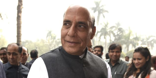 NEW DELHI, INDIA - FEBRUARY 29: Union Home Minister Rajnath Singh arrives for attending the Parliament Budget Session ahead of the release of the budget at Parliament House on February 29, 2016 in New Delhi, India. Presenting his third Union Budget, Finance Minister Arun Jaitley announced a slew of schemes, and income tax exemptions for small tax-payer and the small investors. Aiming to double farmers' income by 2022, the minister also announced an allocation of nearly Rs. 36,000 crore for the farm sector while raising the agri-credit target to Rs. 9 lakh crore for the next fiscal. Growth of Indian Economy accelerated to 7.6% in 2015-16. (Photo by Sonu Mehta/Hindustan Times via Getty Images)