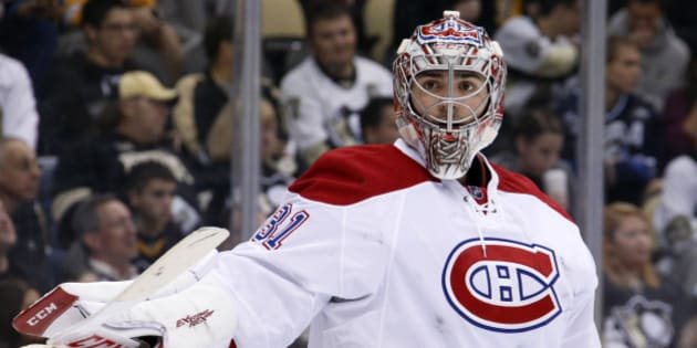 Montreal Canadiens goalie Carey Price (31) plays during an NHL hockey game against the Pittsburgh Penguins in Pittsburgh Tuesday, Oct. 13, 2015.(AP Photo/Gene J. Puskar