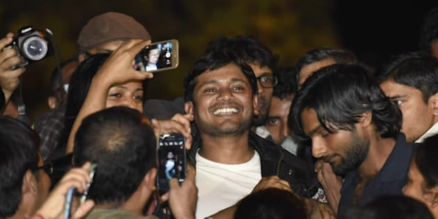 NEW DELHI, INDIA - MARCH 3: JNUSU President Kanhaiya Kumar addressing JNU students after his release on March 3, 2016 in New Delhi, India. Kanhaiya Kumar was granted interim bail for six months by the Delhi High Court after spending 20 days in jail. Kumar was arrested on February 12 on charges of sedition and criminal conspiracy after alleged anti-national slogans were raised on the JNU campus on February 9. (Photo by Sanjeev Verma/Hindustan Times via Getty Images)