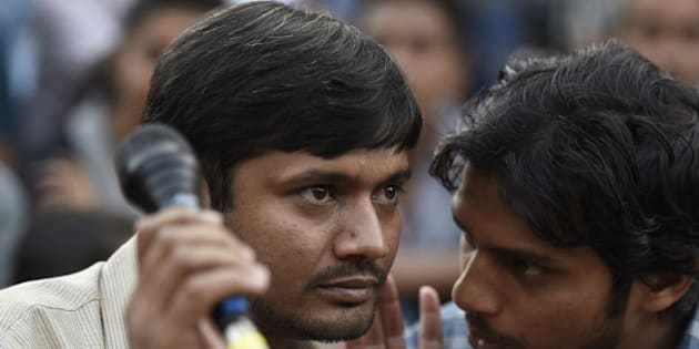 NEW DELHI, INDIA - MARCH 4: JNUSU President Kanhaiya Kumar during the press conference at JNU campus on March 4, 2016 in New Delhi, India. Kanhaiya Kumar was granted interim bail for six months by the Delhi High Court after spending 20 days in jail. Kumar was arrested on February 12 on charges of sedition and criminal conspiracy after alleged anti-national slogans were raised on the JNU campus on February 9.(Photo by Sanjeev Verma/Hindustan Times via Getty Images)