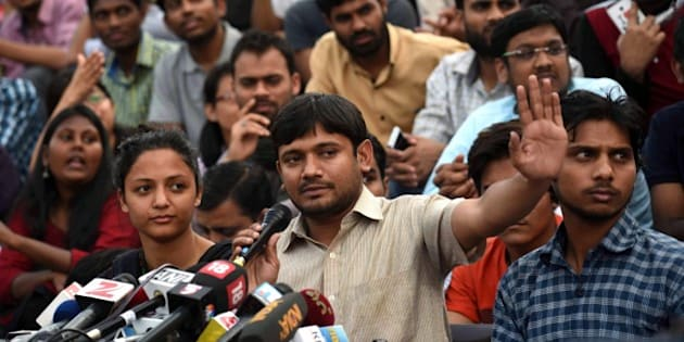 NEW DELHI, INDIA - MARCH 4: Jawaharlal Nehru University Students Union President Kanhaiya Kumar during media interaction at JNU Campus on March 4, 2016 in New Delhi, India. Kanhaiya Kumar was granted interim bail for six months by the Delhi High Court after spending 20 days in jail. Kumar was arrested on February 12 on charges of sedition and criminal conspiracy after alleged anti-national slogans were raised on the JNU campus on February 9.(Photo by Vipin Kumar/Hindustan Times via Getty Images)