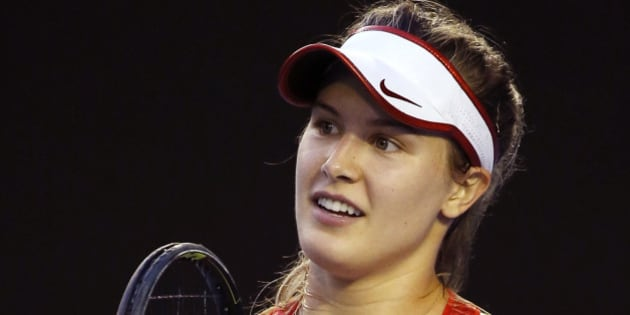 Eugenie Bouchard of Canada reacts to a lost point during her second round match against Agnieszka Radwanska of Poland at the Australian Open tennis championships in Melbourne, Australia, Wednesday, Jan. 20, 2016.(AP Photo/Vincent Thian)
