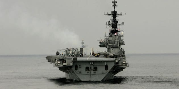 Indian navy aircraft carrier INS Viraat sails during the India-US joint naval exercise in the Arabian Sea, India, Thursday, Sept. 29, 2005. Nearly 12,500 Navy personnel from India and the United States have begun joint exercises this week focusing on anti-terrorism operations, search and rescue missions. (AP Photo/Manish Swarup)
