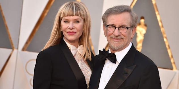 Kate Capshaw, left, and Steven Spielberg arrive at the Oscars on Sunday, Feb. 28, 2016, at the Dolby Theatre in Los Angeles. (Photo by Jordan Strauss/Invision/AP)