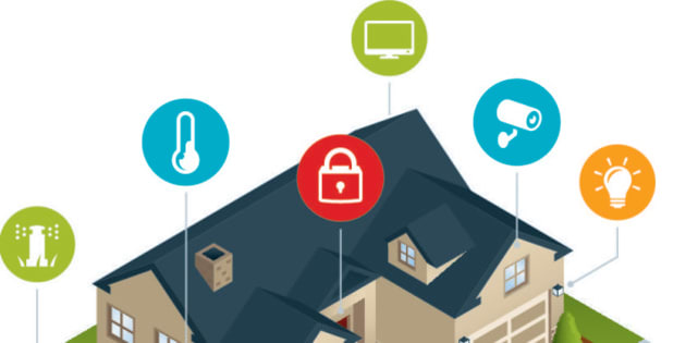An isometric smart home with home automation capabilities. Home automation, smarthome, sprinklers, irrigation, cooling, locks, television, home security, camera, lights.