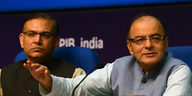 DELHI, INDIA FEBRUARY  29: Union Minister for Finance Arun Jaitley and  MoS for Finance Jayant Sinha during a Post-Budget Press Conference, in New Delhi.(Photo by Parveen Negi/India Today Group/Getty Images)