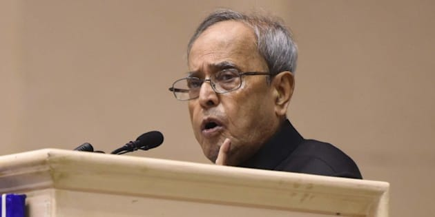 NEW DELHI, INDIA - MARCH 5: President Pranab Mukherjee during an inauguration of a National Conference on 'Women Legislators: Building Resurgent India' at Vigyan Bhawan, on March 5, 2016 in New Delhi, India. The aim of the event is to bring top women political leaders on a single platform. At least 300 women legislators from all over the country congregate for a two-day conference at Vigyan Bhavan with a bid to hone their skills further so as to contribute their might in the socio-economic progress of the country. (Photo by Sonu Mehta/Hindustan Times via Getty Images)