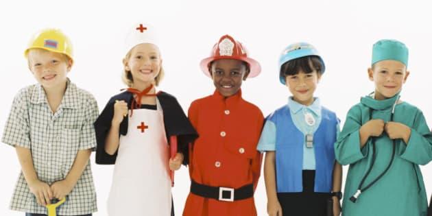 Children in occupational costumes