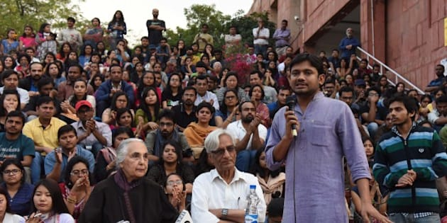 NEW DELHI, INDIA - MARCH 6: Historian Romila Thapar and Harbans Mukhia with JNU students Union President Kanhaiya Kumar at Jawaharlal Nehru University (JNU) Campus on March 6, 2016 in New Delhi, India. Thapar said that it will be difficult for the government to 'control' the thinking process unless it turns into a totally 'anti-democratic dictatorship'. She told 'JNU is not likely to suffer a setback as there is much intellectual support for it in the country. There are other universities too that discuss a range of ideas as are discussed in the JNU. The existence of a varsity is intended for that to discuss ideas of every kind.' (Photo by Sushil Kumar/Hindustan Times via Getty Images)