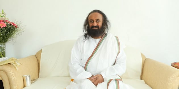 NOIDA, INDIA - FEBRUARY 5: (EDITOR'S NOTE: This is an exclusive shoot of Hindustan Times) Indian Spiritual leader and founder of The Art of Living Foundation Sri Sri Ravi Shankar during an exclusive interview on February 5, 2016 IN Noida, India. The spiritual leader spoke to HT on the occasion of Art of Living completing 35 years of service to humanity as an educational and humanitarian movement. He revealed plans to host the World Culture Festival in Delhi from March 11 to March 13. The event will see participation from more than 35,000 artists and over 3.5 million people from over 155 countries, to give out the message that the whole world is one family and that we can all co-exist with our differences. (Photo by Raajessh Kashyap/Hindustan Times via Getty Images)