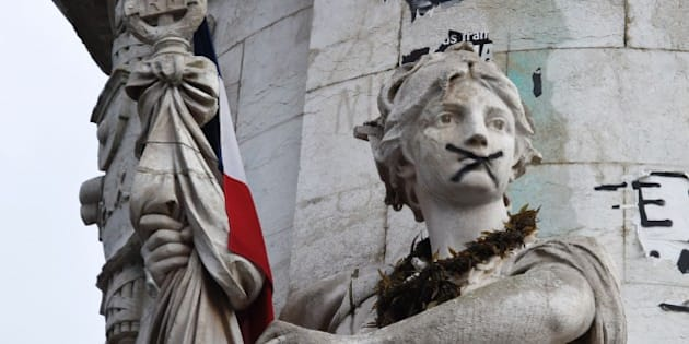 A statue making up part of the central Statue of Marianne is seen at Place de la Republique (Republic square) where a remembrance rally was held on January 10, 2016 to mark a year since 1.6 million people thronged the French capital in a show of unity after attacks on the Charlie Hebdo newspaper and a Jewish supermarket.