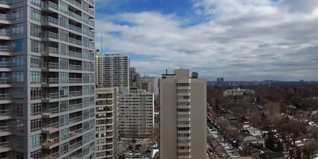 High rise apartments and low density housing in part of Toronto's skyline.