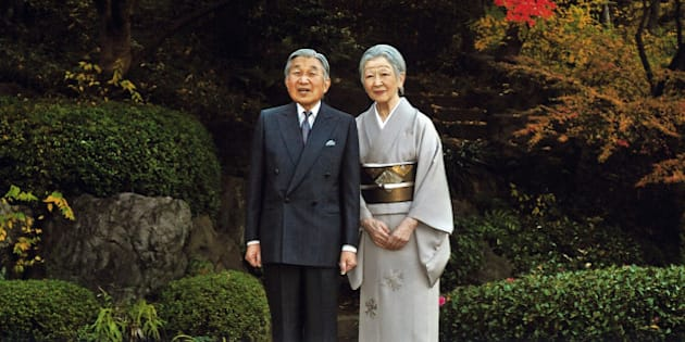 This Dec. 9, 2015 photo released by Imperial Household Agency of Japan shows Japanese Emperor Akihito, left, and Empress Michiko, right,  at the Imperial Palace in Tokyo. Emperor Akihito celebrated his 82nd birthday on Dec. 23. (Imperial Household Agency of Japan via AP)