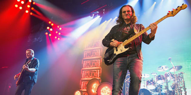 SEATTLE, WA - JULY 19:  Alex Lifeson, Geddy Lee and Neil Peart of Rush performs on stage during the R40 LIVE Tour at KeyArena on July 19, 2015 in Seattle, Washington.  (Photo by Mat Hayward/Getty Images)