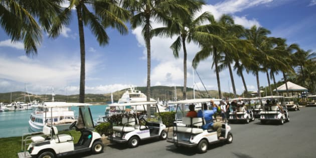 AUSTRALIA-Queensland-WHITSUNDAY COAST-Hamilton Island: Golfcart transport