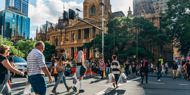 People crossing in George Crossing in Town Hall Sydney