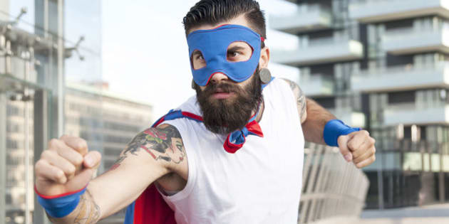 young hipster superhero fights evil