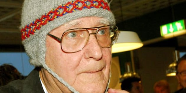 Founder and owner of Swedish home furnishings giant IKEA Ingvar Kamprad wears a traditional polar cap during the opening of a new store in Haparanda, near Sweden's northern border with Finland. (AP Photo/Thord Nilsson) ** SWEDEN OUT  **
