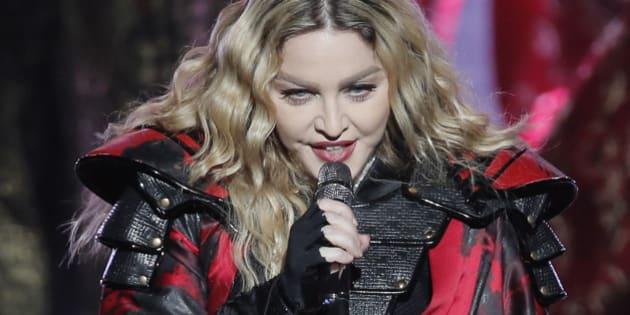 U.S. singer Madonna performs during the Rebel Heart World Tour in Macau, China, Saturday, Feb. 20, 2016. (AP Photo/Kin Cheung)