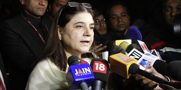 NEW DELHI, INDIA - DECEMBER 22: Union Minister for Women & Child Development, Maneka Sanjay Gandhi at Parliament during the winter session, on December 22, 2015 in New Delhi, India. Parliament passed the juvenile justice bill, a day after members cutting across party lines agreed that the important legislation should be taken up immediately. (Photo by Sanjeev Verma/Hindustan Times via Getty Images)