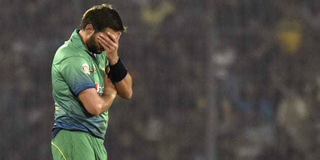 Pakistan cricket captain Shahid Afridi reacts during the Asia Cup T20 cricket tournament match between Bangladesh and pakistan at the Sher-e-Bangla National Cricket Stadium in Dhaka on March 2, 2016. / AFP / MUNIR UZ ZAMAN        (Photo credit should read MUNIR UZ ZAMAN/AFP/Getty Images)